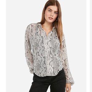 Snakeskin Print Button Front Shirt